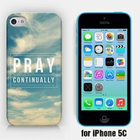for iPhone 5C - Pray Continually - Bible Verse - Motivational Quote - Vintage Sky - Ship from Vietnam - US Registered Brand