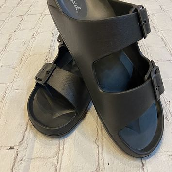 Black Rubber Two Buckle Sandal