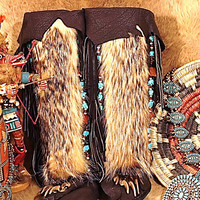 Black Bison Knee High moccasin Boots with Badger fur Zuni style fettishes of turquoise and Carnelian.