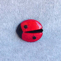 """Lea Stein Ladybug Pin Lucky Brooch Red Moire Black Designer Paris France 2 1/2"""" Long By 2 1/4"""" Tall Celluloid Costume Jewelry Vintage 70s"""