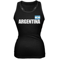 World Cup Argentina Flag & Letters Black Soccer Juniors Tank Top