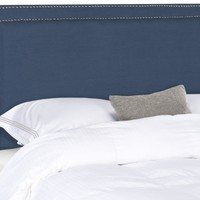 Cory Navy Headboard - Silver Nail Head King