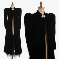 Vintage 30s Velvet COAT / 1930s - 40s Black Velvet Puffed Sleeve Long Evening Opera Coat S