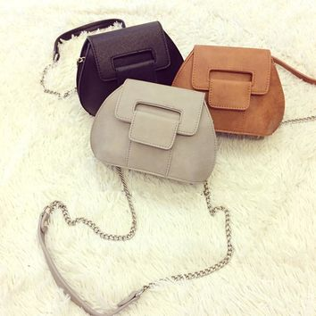 Korean Vintage Chain PU Leather One Shoulder Bags [6582765575]