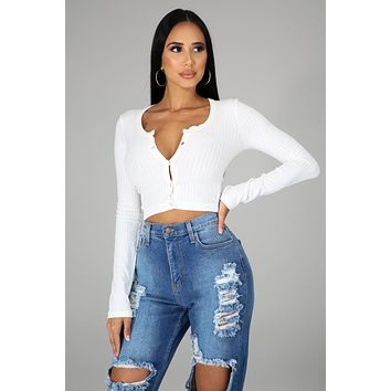 White Long Sleeve Button Up V Neck Top