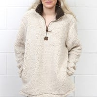Snuggle is Real Sherpa Pullover w/ Pockets {Taupe}