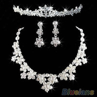 clear Bridal Jewelry Rhinestone crystal Topknot tiara necklace earrings set = 1933090884