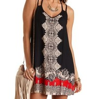 Black Combo Scarf Print Strappy Shift Dress by Charlotte Russe