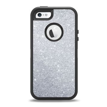 The Silver Sparkly Glitter Ultra Metallic Apple iPhone 5-5s Otterbox Defender Case Skin Set