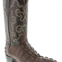 Men's Crocodile Alligator Tail Brown J Toe Leather Cowboy Boots Biker Western