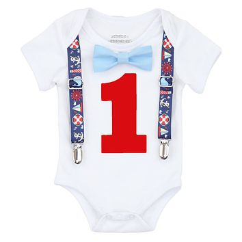 Boys Nautical Theme First Birthday Onesuit Whales Sailboats Shirt