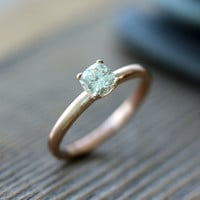Cushion Cut  Moissanite Engagement Ring, Modern Prong Ring Design, Diamond Alternative in Recycled 14k Rose  Gold