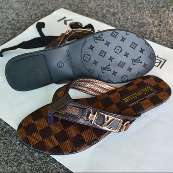 Louis Vuitton LV New fashion tartan flip-flops Slippers sandals Coffee