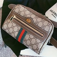 GUCCI New fashion more letter leather waist bag shoulder bag crossbody bag