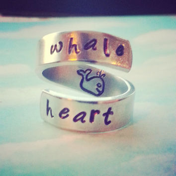 Whale heart  aluminum spiral  ring cute whale  inside handstamped with love