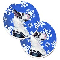 Great Dane Winter Snowflakes Holiday Set of 2 Cup Holder Car Coasters LH9281CARC