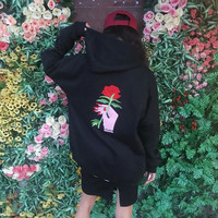 Couple Lovers Unisex Fall Winter Loose Long Hoodies Coat Hand Holding the Red Rose Pattern Embroidered