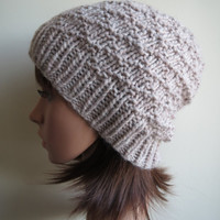 Hand-knit, Chunky and Textured, Diamond-Patterned, Slouchy, Beanie Hat in 'Oat White'
