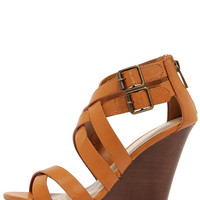 Pretty, Tall, and Merry Tan Caged Wedge Sandals