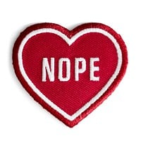 Nope Heart Patch in Red Iron-On Patch