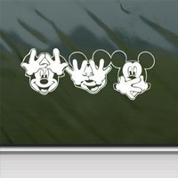 Disney White Sticker Decal Mickey Mouse White Car Window Wall Macbook Notebook Laptop Sticker Decal