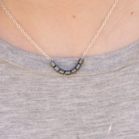 Metallic Grey Beaded Bar Necklace