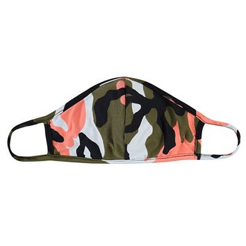 Coral Olive Camouflage Face Masks - Covid 19