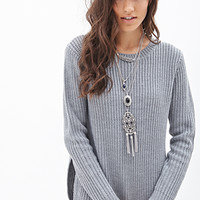 FOREVER 21 Side Slit Sweater Heather Grey
