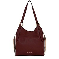 Burberry Women's Small Canter in Leather and House Check Tote Red