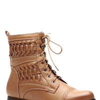 Twisted Lands Faux Leather Beige Lace Up Boots