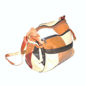 PATCHWORK leather neutral CROSS body messenger bag mid sized SLOUCHY boho purse
