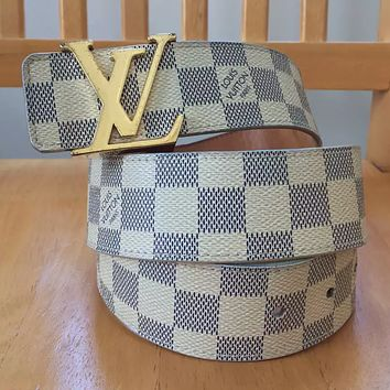 LV Louis Vuitton monogram buckle belt smooth buckle belt