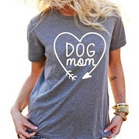 Best Seller Dog Mom T Shirt for Animal Lovers T-Shirts Short Sleeve Lady Top Tees