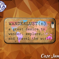 Wanderlust Definition Quote World Map Travel Tumblr Case iPhone 5 5s 5c iPhone 6 and 6+ and iPhone 6s iPhone 6s Plus iPhone SE iPhone 7 +