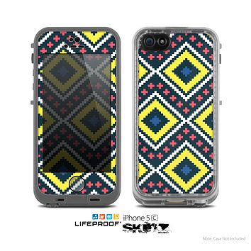 The Gold & Black Vector Plaid Skin for the Apple iPhone 5c LifeProof Case