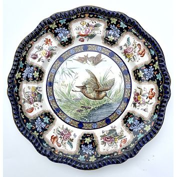 Copeland Spode Upland No.2 Woodcock Game Bird Enameled Clobbered Antique Bi Color Transferware Plate