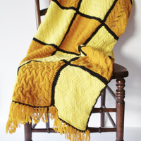 Vintage Knitted Blanket in Autumn Colors, Knitted Coverlet, Knitted Patchwork Afghan