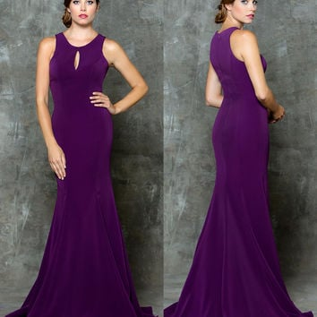 GLOW G718 High Neckline with Chest Cutout Prom Evening Dress