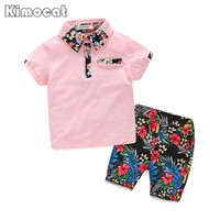 Boys Clothes New 2017 Summer Boy Clothing Sets Flowers Pattern Toddler Boys Sets Kids Clothes Children Clothing Set