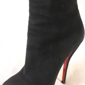 "~~ PERFECTION! ~~ CHRISTIAN LOUBOUTIN BLACK SUEDE ""PLATFORM"" ANKLE BOOTS ~ 39"