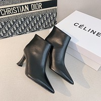 CELINE  Trending Women's Black Leather Side Zip Lace-up Ankle Boots Shoes High Boots