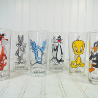 Vintage Warner Brothers Cartoons Characters Pepsi Collector Series Drinking Glasses - Set of 6 Clear Tumblers with Looney Tunes Retro Icons