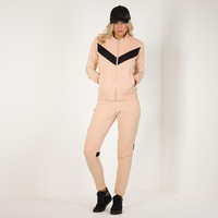 Contrast Panel Retro Track Jacket - Nude
