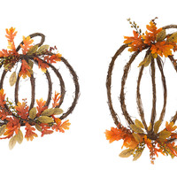 Falling Leaves Collection Grapevine Pumpkins (Set of 2)