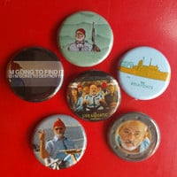"""Life Aquatic set of 6 pin back buttons 1.25"""" Wes Anderson"""