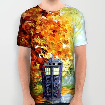 starry Autumn blue phone box Digital Art iPhone 4 4s 5 5c 6, pillow case, mugs and tshirt All Over Print Shirt by Three Second