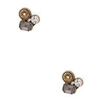 FOREVER 21 Art Deco Clustered Studs Grey/Gold One