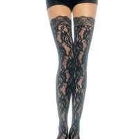 Sexy rose lace thigh high stockings with lace top hosiery Leg Avenue
