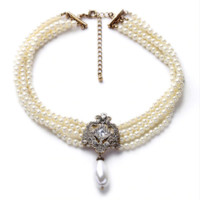 """16"""" cream faux pearl crystal choker necklace 1.50"""" drop white faux pearl"""