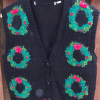 Vintage 80's and 90's Women Ladies Teen Indie Hipster Ugly Cute Tacky Christmas Holiday Party Wreaths Red Polk A Dot Black Sweater Vest